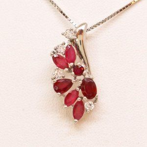 Jewelry - NEW WOMENS RUBY NECKLACE SET IN 14KT WHITE GOLD